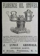Florence Oil Stoves Antique Small Ad 1881 J. Lyman Griswold, Pvd Ri Kitchen