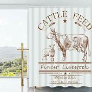 Tamoc Cattle Feed Shower Curtain With 12 Hooks Farmhouse Cow Shower Curtain F...