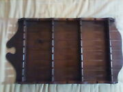 Vintage Lg Wood Wooden 32 Slot Collectible Spoon Display Rack Souvenir Jewelry