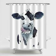 Mitovilla Farmhouse Cow Shower Curtain Set With Hooks Black And White Cow Hea...
