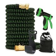 75 Ft Expandable Garden High Pressure Water Hose 10 Pattern Spray Nozzle Brass