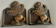Cast Iron Metal Book Ends Bookends Heavy Antique Wings Pegasus Horse 1925 Dal