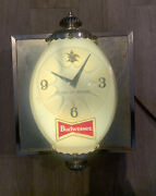 Rare Vintage 1960's Budweiser King Of Beers Lighted Wall Clock Sign- Works