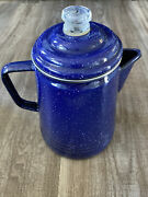 Coleman 14-cup Coffee Blue Enamelware Percolator Fire Pit Camping