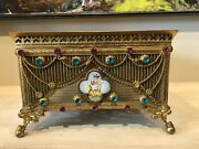 Antique French Reticulated Bejewelled Bible Lecturn Missal Brass Stand