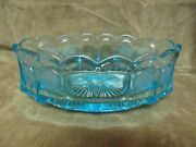 Vintage 1960and039s Fostoria Glass Blue Coin Pattern Oval Design Panel Side Bowl
