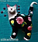 Vin 2002 Amy Lacombe Whimsiclay Flowered Cat Figurine Amy's Signature Whiskers