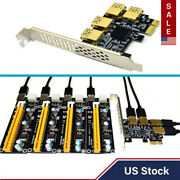 Pci-e 1x To 4 Port Expansion Riser Card Adapter Usb Interface Bitcoin Mining Us