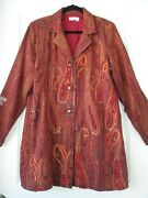 Coldwater Creek Paisley Red/rust Long Blazer Jacket Coat Women's Xl - Preowned