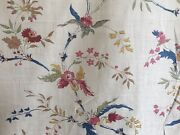 Antique French Floral Light Cotton Fabric 18thc Pattern Blue Rose Ochre Sage