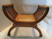 Roman Curule Child's Chair Wood And Cane Seat Savonarola Hard To Find