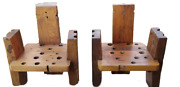 Amish Rustic 4 Pc Rustic Live Edge Wood Chairs Furniture Game Room Cabin