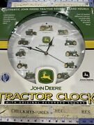 New Nib John Deere Tractor Wall Clock Makes Tractor Sounds On The Hour Lite Snsr