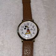 Disney Womens Vintage Lorus Mickey Mouse Watch Goldtone/leather-vhtf-new