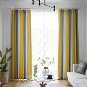 Modern Yellow-gray Weave Striped Window Blackout Bedroom Curtains Sheer
