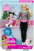 Box Damaged Barbie Ice-skating Coach And Student Doll With Turning Mechanism Fxp38