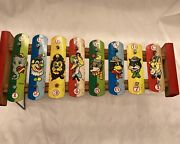 Vintage Toy Xylophone Circus Clown Zoo And Farm Animals Wood And Metal Made Japan