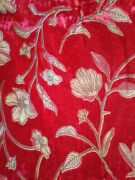 Beautiful Red Tossed Floral Velvet Burnout Fabricrayon/nylon53 W X 3 2/3 Yds