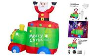 6ft Christmas Decorations Inflatable Claus Blow Up Built-in 6ft Santa On Train