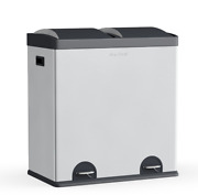 New Step Nand039 Sort 16 Gallon 2 Compartment Trash And Recycling Bin Silver