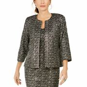 Kasper Womenand039s Abstract Printed 3/4 Sleeve Open-front Blazer Jacket Top Tedo