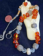 Rare Dinosaur Bone Amber Crystal Fossilized Mammother Necklace 1 Of Kind