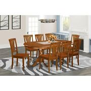 Plav9-sbr Classic Farmhouse Pedestal 9-piece Dining Set Brown 1 Table And 8 Wood