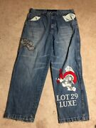 Lot 29 Luxe Mens Classic Straight Jeans Marvin The Martian Looney Tunes Size 42