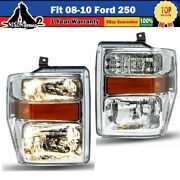 Fit 08-10 Ford 250 Super Duty Replacement Chrome Headlights-clear Lens