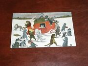Original Louis Wain Cat Postcard - Attack On The Stage Coach - Valentines.