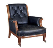 Early 20th Century Art Nouveau Walnut And Leather Armchair