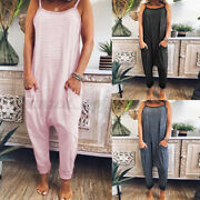 Women's Strappy Jumpsuit Casual Loose Overalls Rompers Harem Pant Playsuits Plus