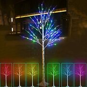 Lighted Colorful Led Birch Tree Lit Color Changing 6ft 120led Artificial Fake