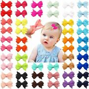 50pcs Baby Girls Hairpins 2 25 Colors Alligator Clips Infants Hairbows Toddler