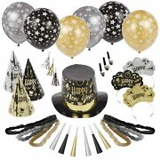 Black Tie Affair New Year's Party Kit For 500, Includes Top Hats, Cone Hats
