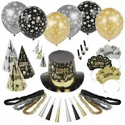 Black Tie Affair New Year's Party Kit For 600, With Top Hats, Cone Hats, Tiaras
