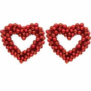Red Heart Ornament And Tinsel Wreaths 2-pack Decorations Door Entry Classroom