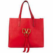 62900 Auth Valentino Red Leather Vring Large Tote Bag