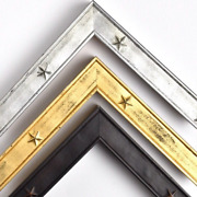 Military Tribute With Stars Picture Frame Black Gold Silver 1 1/8 Handmade