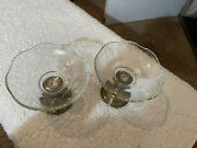 Vtg Frank M. Whiting Silver And Glass Pair Of Candy Dish Removable Bases