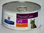 Hilland039s Diet Y/d Thyroid Care With Chicken Can Cat Food 5.5oz/24 - Free Ship