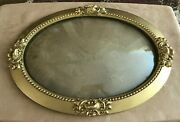 Bubble Glass Curved Antique Picture Frame Convex 22 Gold Tone Oval Wood Wall
