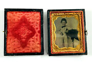 Antique 1/9 Plate Tin Type Young Boy In Jumpsuit Hand Painted Buttons In Studio