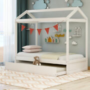 Easy Assemble Solid Wood Twin White House Bed For Kids With Movable Trundle