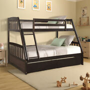 Espresso Solid Wood Twin Over Full Bunk Bed With Two Storage Drawers Kid Dorm