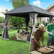 Aleko Steel Hardtop Gazebo With Mosquito Net 10 X 10 Feet Black 10 X 10