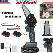 Mini Electric Chainsaw 4 Inch Cordless Saw W/ 2x Rechargeable Battery 2x Chain