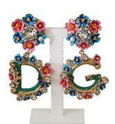 Dolce And Gabbana Earrings Gold Crystal Dg Logo Floral Clip On Dangling Rrp 1200