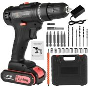 21v Electric Drill Cordless Screwdriver Drill Dual Speed W/ Battery Fast Charge