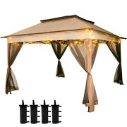 Patio Gazebo Canopy11x11ft Outdoor 2-tier Tent Shelter Awning Steel W/netting